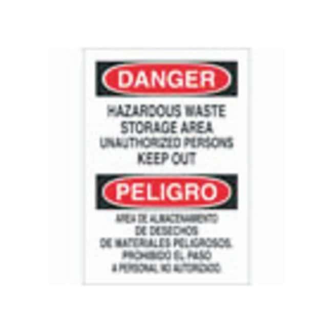 Brady English/Spanish Aluminum Warning Sign: HAZARDOUS WASTE STORAGE AREA