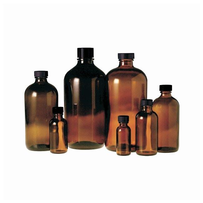 Fisherbrand™Amber Boston Round Bottles with Black Phenolic PolyCone Cap: Bottles Bottles, Jars and Jugs