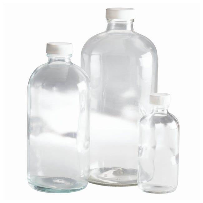 Fisherbrand™Clear Boston Round Bottles with White Polypropylene Pulp/Vinyl Cap
