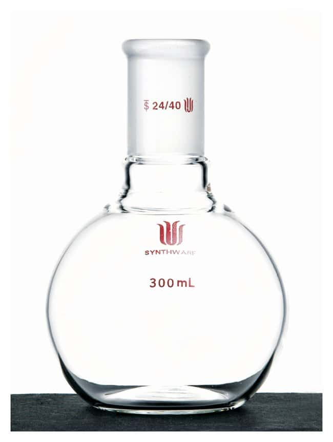 Synthware Flat Bottom Flask, Single Neck Capacity: 300mL; 24/40 joint:Dishes,