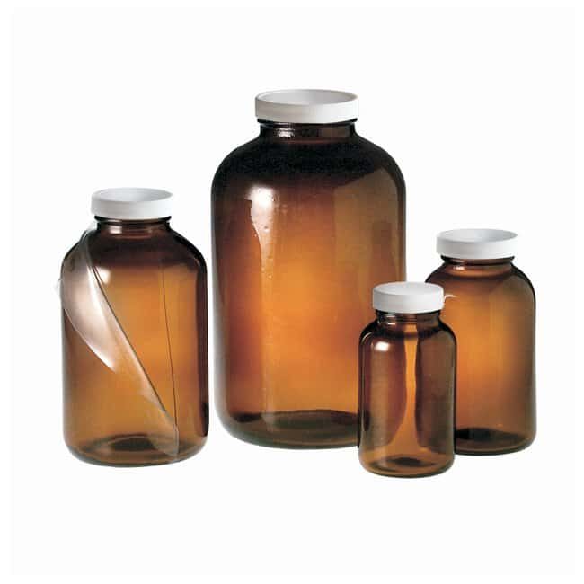 Fisherbrand™ Safety Coated Amber Wide Mouth Packer Bottles with White Polypropylene Pulp/Vinyl Cap