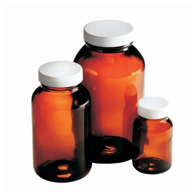 Fisherbrand™ Amber Wide Mouth Packer Bottles with White Polypropylene PE Foam/PTFE Cap 2oz (60mL); 33-400; 24/CS Fisherbrand™ Amber Wide Mouth Packer Bottles with White Polypropylene PE Foam/PTFE Cap