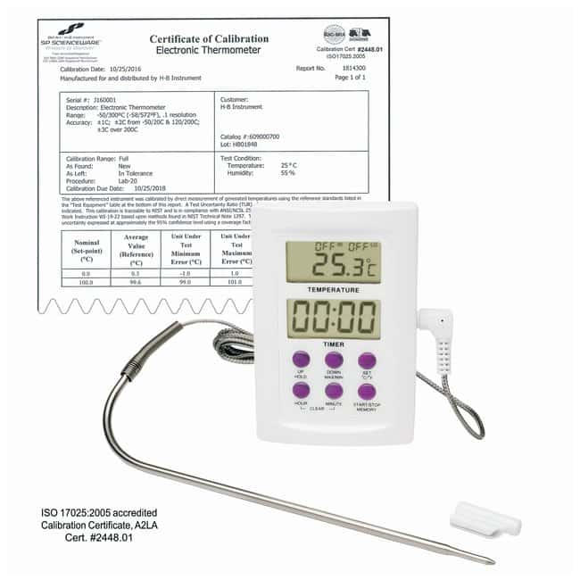 H-B Instrument SP Scienceware Calibrated Electronic Thermometers with Stainless