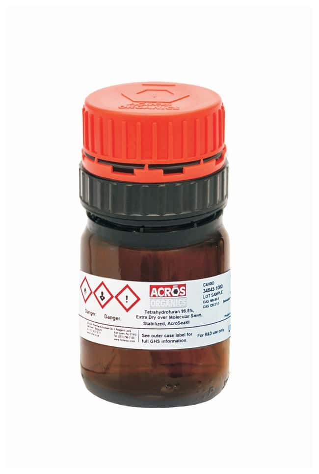 Tetrahydrofuran, 99.5%, Extra Dry over Molecular Sieve, Stabilized, AcroSeal , ACROS Organics