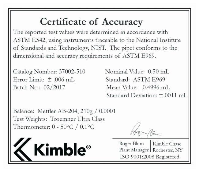 DWK Life SciencesKimble™ KIMAX™ Reusable Class A Volumetric Unserialized Pipets, TD