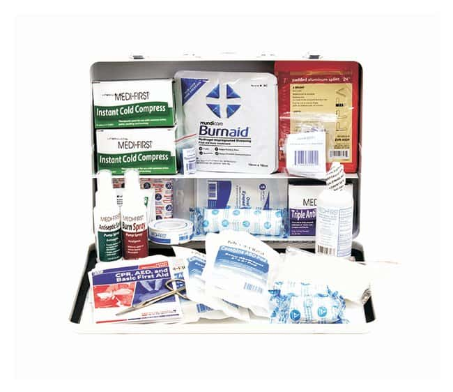 Medique Class B 50-Person First-Aid Kit Metal:Gloves, Glasses and Safety