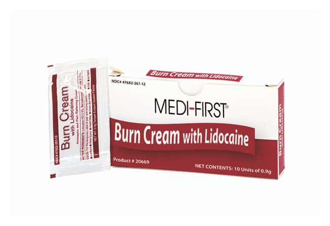 Medique Burn Cream with Lidocaine Unit 1g; 12/Pack:Gloves, Glasses and
