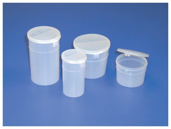 Corning™Einweg-Probenbehälter aus Kunststoff mit Schnappverschluss Niedriges Profil; Kapazität: 4.0 oz. (120 ml); Außendurchmesser x H: 68x52mm Corning™Einweg-Probenbehälter aus Kunststoff mit Schnappverschluss