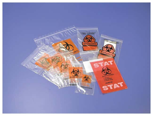 Fisherbrand Biohazard Specimen Transport Bags Printed; Red STAT labeling;