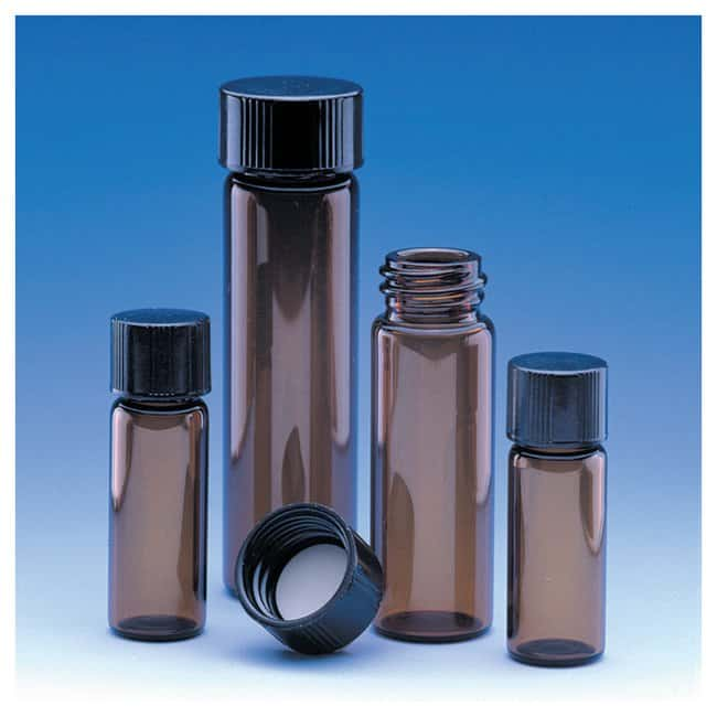 Fisherbrand™ Class B Amber Glass Threaded Vials with Attached Caps