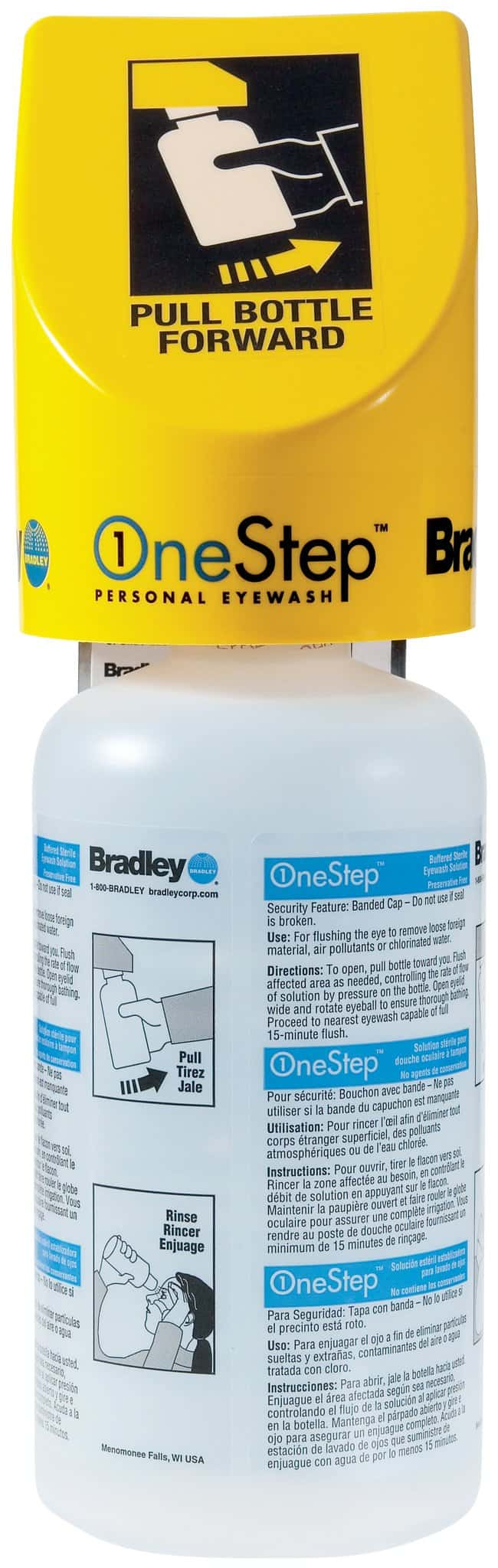 Bradley OneStep Personal Eyewash Station:Gloves, Glasses and Safety:Eyewashes