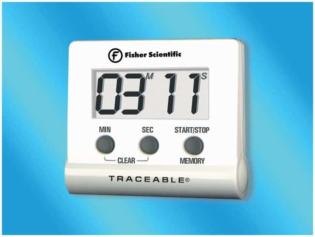 Fisherbrand™Traceable™ Instant-Recall Memory Timer Timer range: 100 minutes; Alarms: 30 seconds; Display: 0.62 in. H Stopwatches