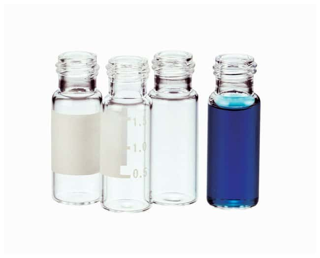 Thermo Scientific™National 2mL Screw Thread Vials with Caps and Septa Amber w/patch, 9mm Wide-opening, Short screw thread, Pink caps, Ivory PTFE/Red rubber septa Thermo Scientific™National 2mL Screw Thread Vials with Caps and Septa