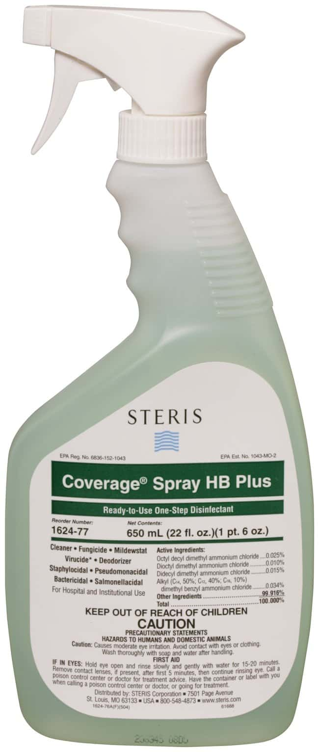 SterisCoverage Spray HB Plus Ready-to-Use Disinfectant Cleaner 22 oz. (651mL):Laboratory