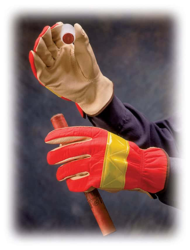 PIP Hi-Vis Leather Driver Gloves:Gloves, Glasses and Safety:Gloves