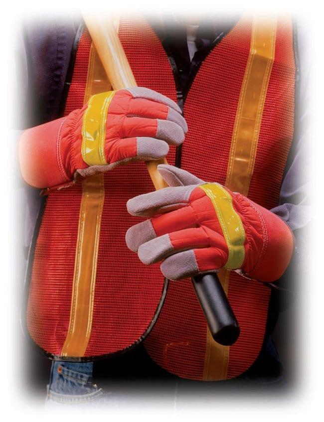 PIP Hi-Vis Leather-Palm Gloves:Gloves, Glasses and Safety:Gloves