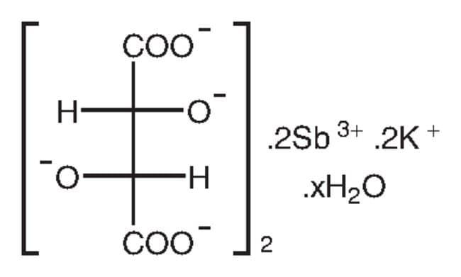 Hidrato de tartrato de potasio antimonio, 98%, Alfa Aesar™ 500g Hidrato de tartrato de potasio antimonio, 98%, Alfa Aesar™