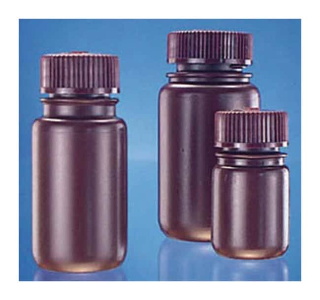 Fisherbrand™Frasco de boca ancha de HDPE ámbar Capacity: 8 oz. (250mL); 43mm screw cap size Fisherbrand™Frasco de boca ancha de HDPE ámbar