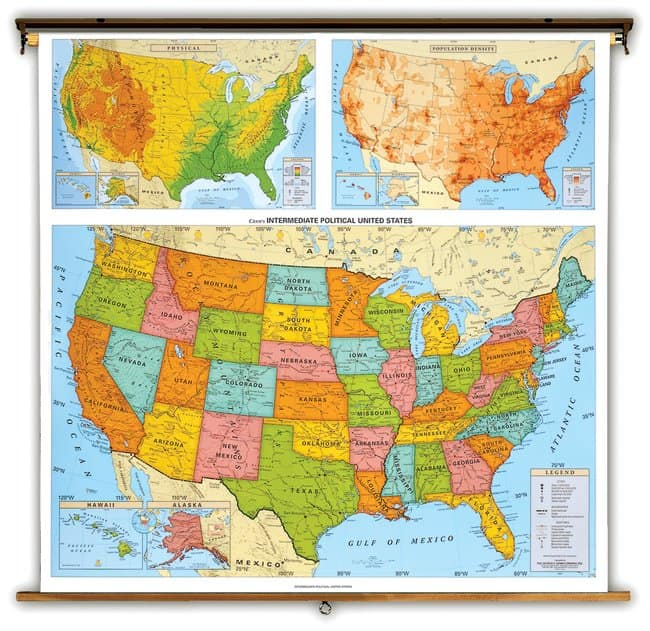 National Geographic Us And World Physical Wall Maps United States - National-geographic-us-map