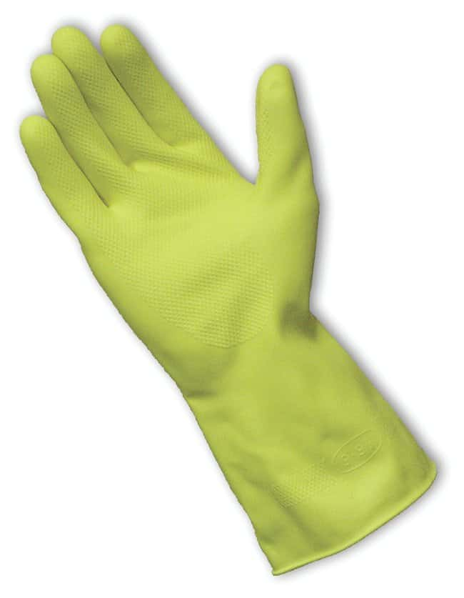 PIP Marigold Industrial Heavyweight Flock-Lined Latex Gloves Honeycomb