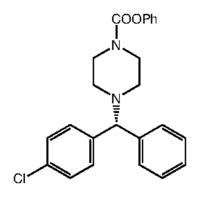 Phenyl 4-[(R)-alpha-(4-chlorophenyl)benzyl]piperazine-1-carboxylate, 98%, Alfa Aesar™ 250mg Phenyl 4-[(R)-alpha-(4-chlorophenyl)benzyl]piperazine-1-carboxylate, 98%, Alfa Aesar™