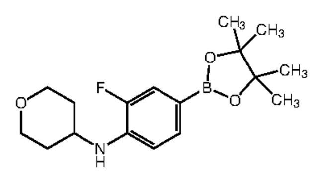 Alfa Aesar™3-Fluoro-4-(4-tetrahydropyranylamino)benzeneboronic acid pinacol ester, 96% 1g Alfa Aesar™3-Fluoro-4-(4-tetrahydropyranylamino)benzeneboronic acid pinacol ester, 96%