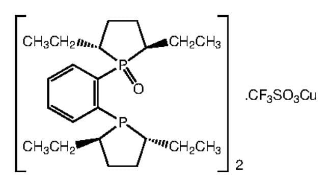 Bis[(2R,5R)-1-(2-[(2R,5R)-2,5-diethyl-1-phospholanyl]phenyl)-2,5-diethylphospholane 1-oxide]copper(I) triflate, 97%, Alfa Aesar™ 500mg Ver productos