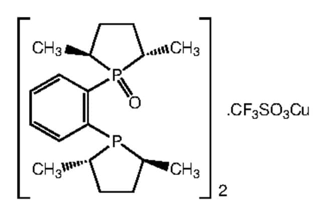 Bis[(2S,5S)-1-(2-[(2S,5S)-2,5-dimethyl-1-phospholanyl]phenyl)-2,5-dimethylphospholane 1-oxide]copper(I) triflate, 97%, Alfa Aesar™ 500mg Bis[(2S,5S)-1-(2-[(2S,5S)-2,5-dimethyl-1-phospholanyl]phenyl)-2,5-dimethylphospholane 1-oxide]copper(I) triflate, 97%, Alfa Aesar™