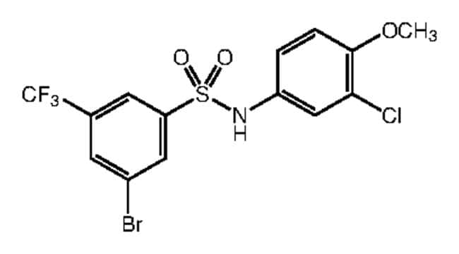 Alfa Aesar™3-Bromo-N-(3-chloro-4-methoxyphenyl)-5-(trifluoromethyl)benzenesulfonamide, 97% 250mg Ver productos