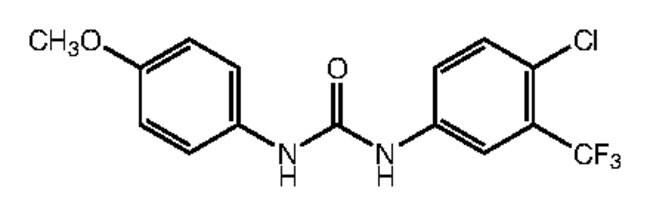1-[4-Chloro-3-(trifluoromethyl)phenyl]-3-(4-methoxyphenyl)urea, 97%, Alfa Aesar™ 250mg 1-[4-Chloro-3-(trifluoromethyl)phenyl]-3-(4-methoxyphenyl)urea, 97%, Alfa Aesar™