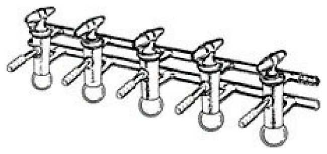 DWK Life SciencesKimble™ Kontes™ Vacuum/Gas Double Manifold with Glass Plugs Manifold, Glass, 5 Places DWK Life SciencesKimble™ Kontes™ Vacuum/Gas Double Manifold with Glass Plugs