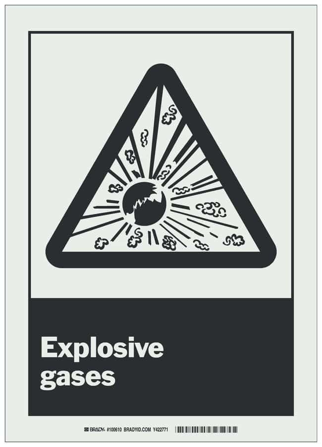 Brady BradyGlo Warning Sign: EXPLOSIVE GASES Black on glow; 10 in. x 14