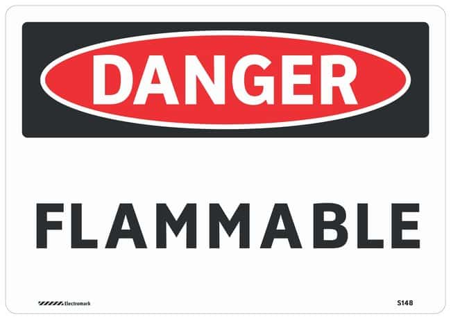Brady Aluminum Small Warning Sign: FLAMMABLE Black/red on white; 10 in.