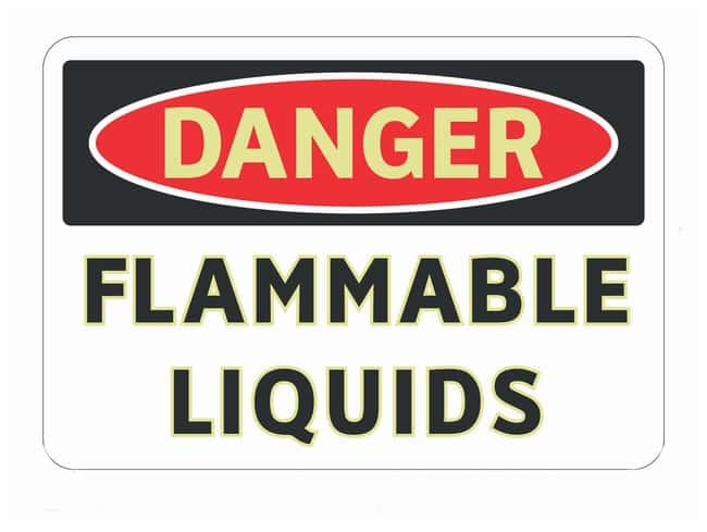Brady Adhesive Warning Sign: FLAMMABLE LIQUIDS Black/red on white; 10 in.