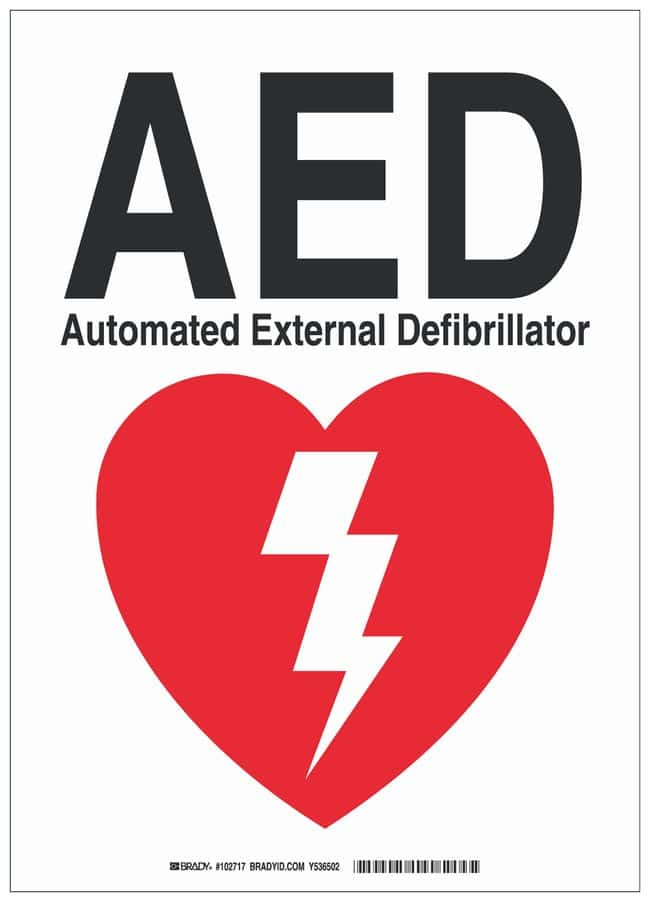 Brady Polystyrene First Aid Sign: AED AUTOMATED EXTERNAL DEFIBRILLATOR:Gloves,