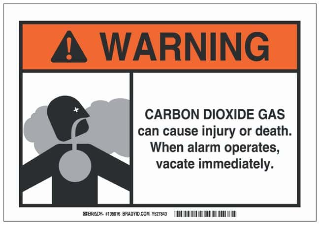 Brady Polyester Warning Sign: CARBON DIOXIDE GAS CAN CAUSE INJURY OR DEATH.