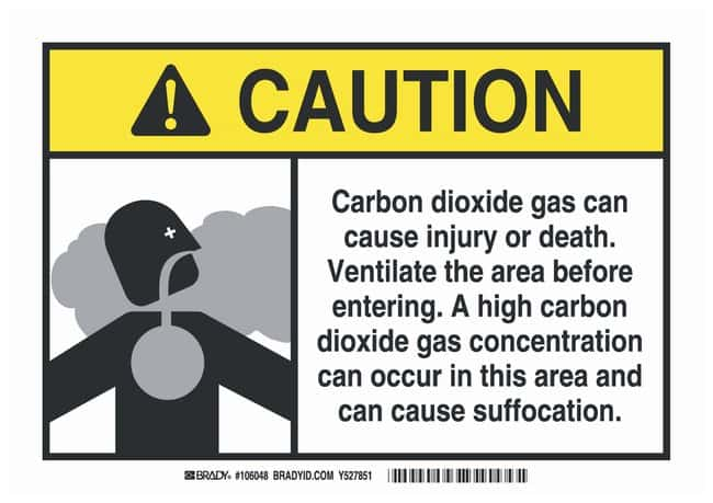 Brady Polyester Caution Sign: CARBON DIOXIDE GAS CAN CAUSE INJURY OR DEATH.