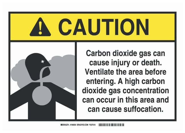 Brady Fiberglass Caution Sign: CARBON DIOXIDE GAS CAN CAUSE INJURY OR DEATH.