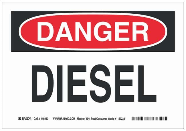 Brady High Density Polypropylene Danger Sign: DIESEL:Gloves, Glasses and