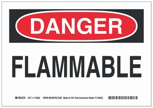 Brady Eco Friendly Plastic Danger Sign: FLAMMABLE:Gloves, Glasses and Safety:Facility