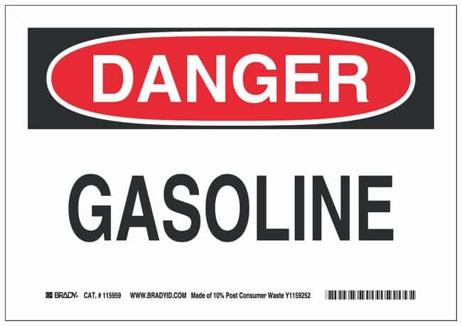 Brady Recycled Film Adhesive Warning Sign: GASOLINE:Gloves, Glasses and