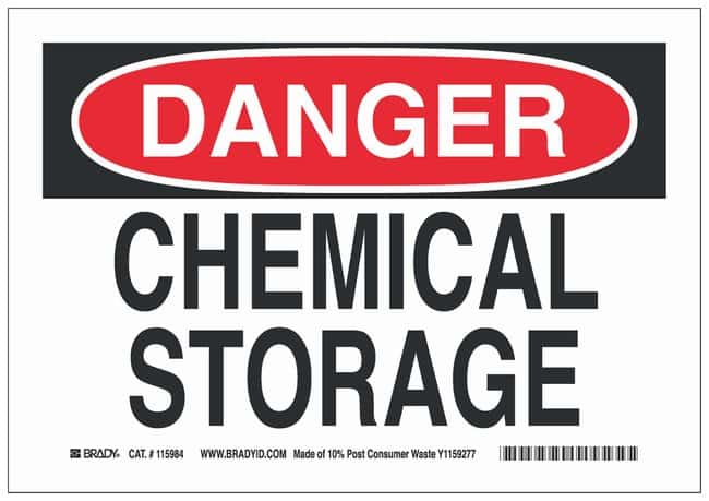 Brady Recycled film Danger Sign: CHEMICAL STORAGE Black/red on white; Cold