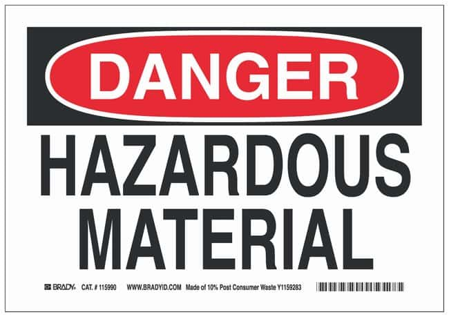 Brady Paper Board Danger Sign: HAZARDOUS MATERIAL Black/red on white; Non-adhesive;