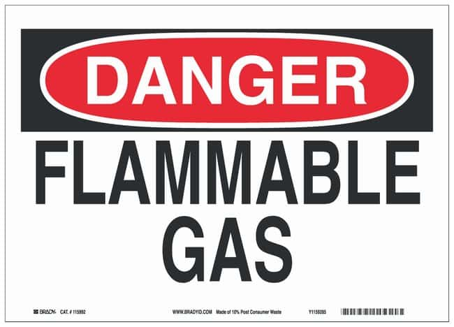 Brady Eco Friendly Paperboard Danger Sign: FLAMMABLE GAS Black/red on white;