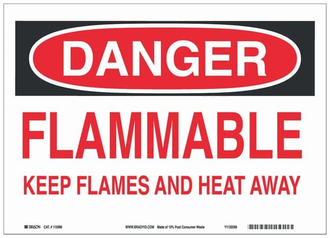 Brady Recycled Film Adhesive Warning Sign: FLAMMABLE KEEP FLAMES AND HEAT