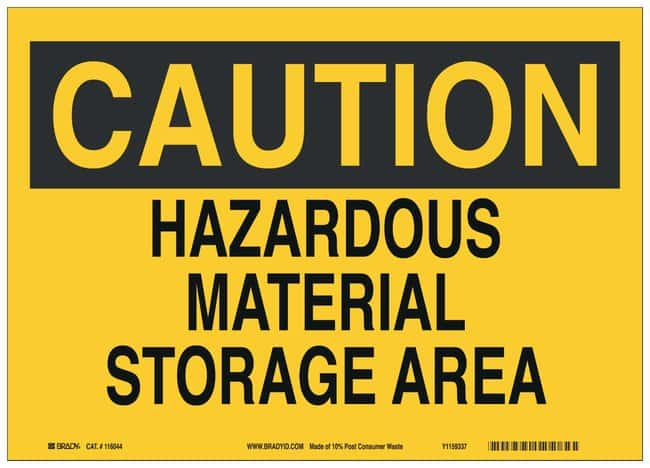 Brady Recycled film Caution Sign: HAZARDOUS MATERIAL STORAGE AREA Black