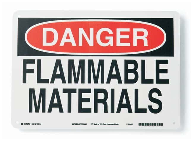 Brady Polypropylene Warning Sign: FLAMMABLE MATERIALS:Gloves, Glasses and