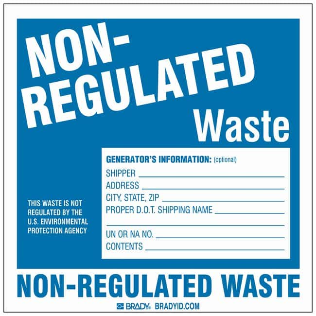Brady Hazardous Waste Label: NON-REGULATED LABEL:Gloves, Glasses and Safety:Facility