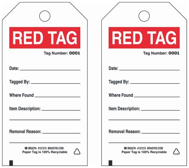 Brady Paper Cardstock Tag: RED TAG:Gloves, Glasses and Safety:Facility