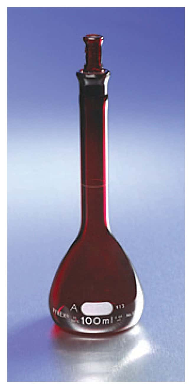 PYREX Low-Actinic Class A Volumetric Flasks with Glass Standard Taper Stopper
